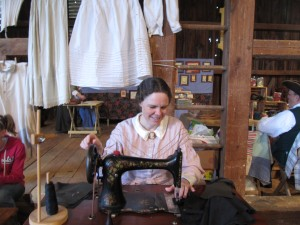 I am demonstrating treadle sewing on the 1889 Singer at Warrior Run PA.